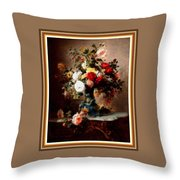 Vase With Roses And Other Flowers L B With Alt. Decorative Ornate Printed Frame. Throw Pillow