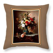 Vase With Roses And Other Flowers L B With Decorative Ornate Printed Frame. Throw Pillow