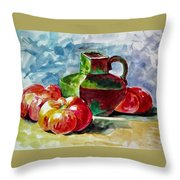 Vase With Tomatoes Throw Pillow