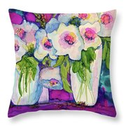 Vases Of White Flowers Throw Pillow