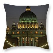 Vatican, Rome, Italy.  Night View Throw Pillow