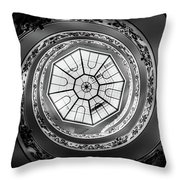 Vatican Staircase Looking Up Black And White Throw Pillow