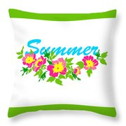 Vector Round Frame Isolated With Summer Flowers In Vintage Style Throw Pillow