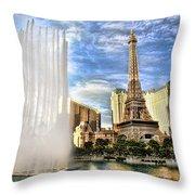 Vegas Water Show Throw Pillow