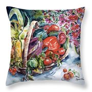 Vegetable Harvest Throw Pillow