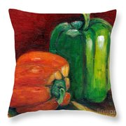 Vegetable Still Life Green And Orange Pepper Grace Venditti Montreal Art Throw Pillow