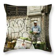 Vegetable Vendor Havana Cuba Throw Pillow