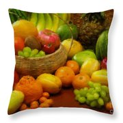 Vegetables And Fruits  Throw Pillow