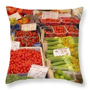 Vegetables At Italian Market Throw Pillow