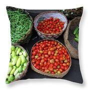 Vegetables In A Basket Throw Pillow