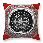 Vegvisir - A Silver Magic Viking Runic Compass On Red Leather  Throw Pillow