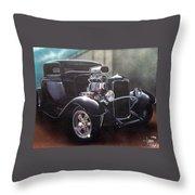 Vehicle- Black Hot Rod  Throw Pillow