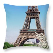Eiffel Tower And Spring Throw Pillow