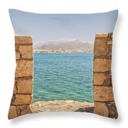 Veiw Of Lerapetra From Kales Fort Portrait Composition Throw Pillow