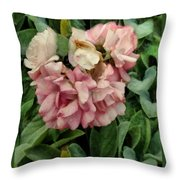 Velvet In Pink And Green Throw Pillow
