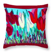 Velvet Tulips Throw Pillow