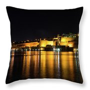 Velvety Reflections - Valletta Grand Harbour At Night Throw Pillow