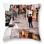 Venetian Baker, Reflection, Rain Puddle Throw Pillow
