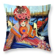 Venetian Carneval Mask With Bird Cage Throw Pillow