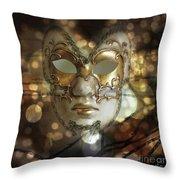 Venetian Golden Mask Throw Pillow