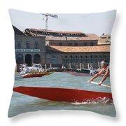 Venetian Rowing Racers Throw Pillow