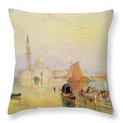 Venetian Scene, 19th Century Throw Pillow