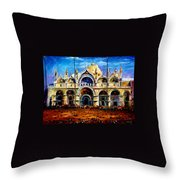 Venice - Pigeons On San Marco Square Throw Pillow