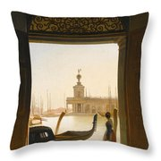 Venice A View Of The Dogana Seen Through A Large Doorway Throw Pillow