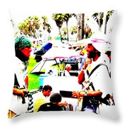 Venice Beach Artsy Crowd Throw Pillow