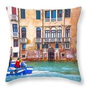 Venice Boat Under The Rain Throw Pillow