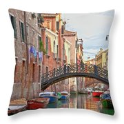 Venice Bridge Crossing 5 Throw Pillow
