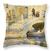 Venice. Bridge With Figures  Throw Pillow