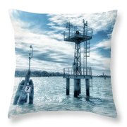 Venice - Buoy And Mooring In The Lagoon Throw Pillow