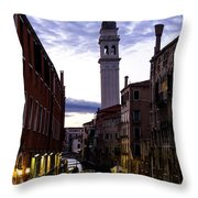 Venice Canal At Dusk Throw Pillow