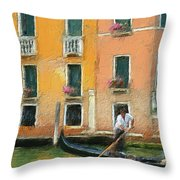 Venice Canal Boat Throw Pillow