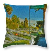Venice Canal Bridge Signs Throw Pillow