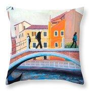 Venice Canal Painting Throw Pillow