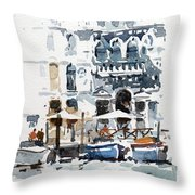Venice Canal With Barges Throw Pillow