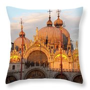 Venice Church Of St. Marks At Sunset Throw Pillow