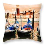 Venice, City Of Romance, Italy, Gondolas Throw Pillow