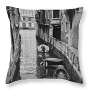 Venice Docked Boats Throw Pillow
