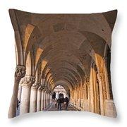Venice - Doge's Palace Arcade Throw Pillow
