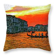 Venice Eventide Impasto Throw Pillow