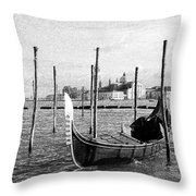Venice. Gondola. Black And White. Throw Pillow