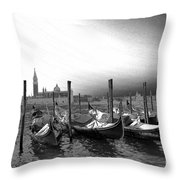 Venice Gondolas Black And White Throw Pillow