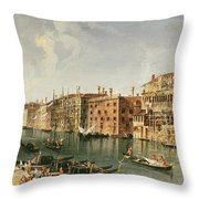Venice, Grand Canal And The Fondaco Dei Turchi  Throw Pillow
