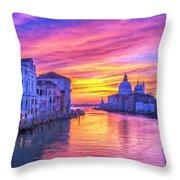 Venice Grand Canal At Sunset Throw Pillow