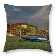 Venice Grand Canal God Sun Rays Throw Pillow