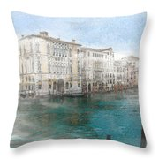 Venice Grand Canal Watercolour Painting Throw Pillow