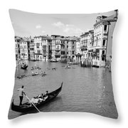Venice In Black And White Throw Pillow